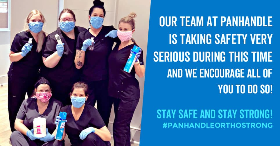 The Panhandle Orthopaedics team PPE is taking patient safelty very sriously.