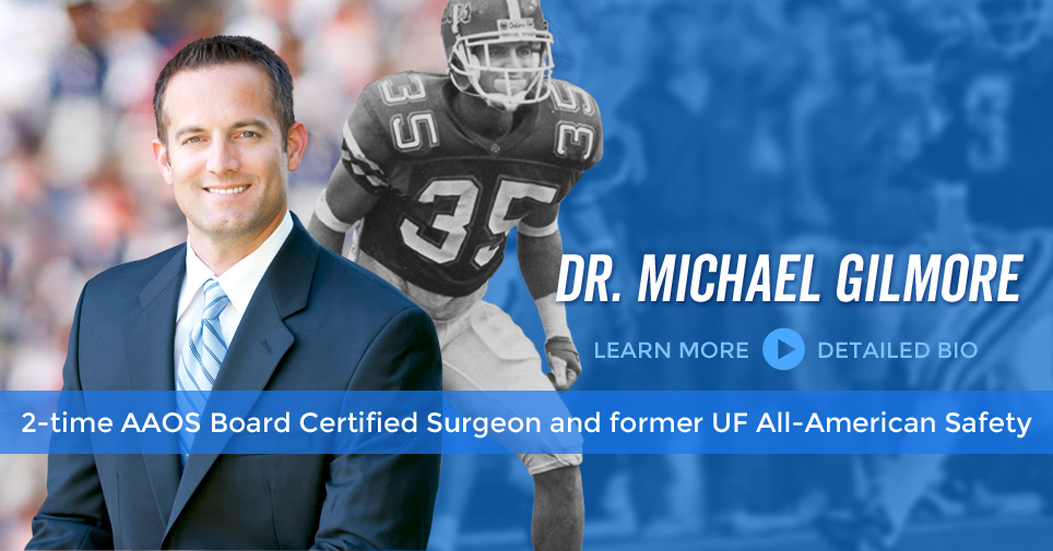 Dr. Michael Gilmore is a 2-time Board Certified Surgeon and Former UF All-America Safety
